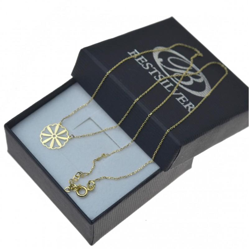 5a412cf326e277 Złoty naszyjnik damski ażurowy Kwiat celebrytka Złoto pr.585. Loading zoom
