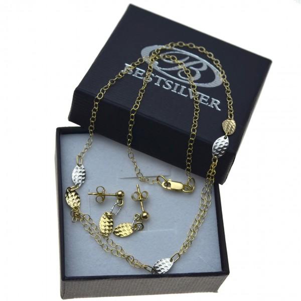 Komplet złotej damskiej biżuterii naszyjnik + kolczyki listki Złoto 585