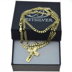 Łańcuszek Złoty Pancerka 50cm 3mm + krzyżyk z P. Jezusem nr1 Złoto pr 585