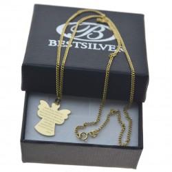 Komplet złoty Anioł stróż z modlitwą + łańcuszek pancerka 45cm 585