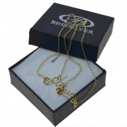 Łańcuszek srebrny złocony znak nieskończoności celebrytka