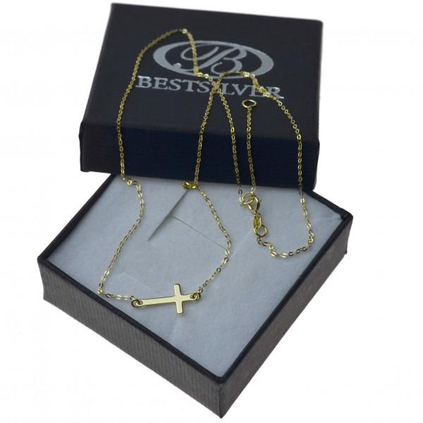 Naszyjnik Złoty celebrytka Krzyżyk 42cm + 3cm złoto 8kt