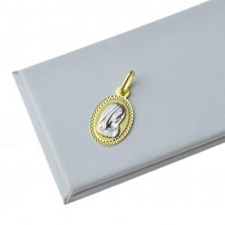 Medalik złoty duwkolorowy z wizuernkiem Matki Boskiej Złoto 333