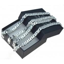 Łańcuch męski X Pancerka gęsty masywny oryginalny splot 60cm 6mm srebro 925