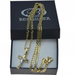 Złoty męski komplet 50cm + krzyżyk  z P. Jezusem 333