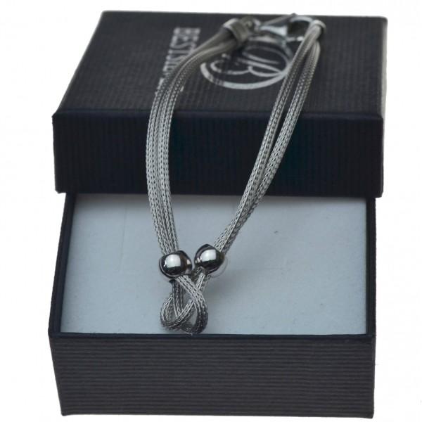 Bransoletka srebrna rodowana sznurek podwójny damska