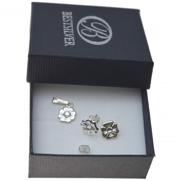 Komplet srebrne Kwiatki z kamienim Swarovski tani Srebro 925