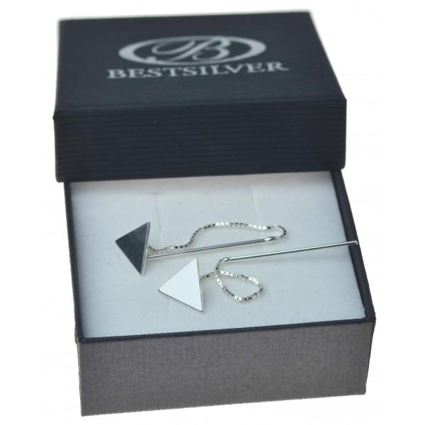 Kolczyki srebrne przeciągane z trójkątem przy uchu Srebro 925