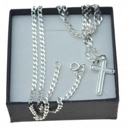 Łańcuszek srebrny pancerka 50cm męski + krzyżyk srebro 925