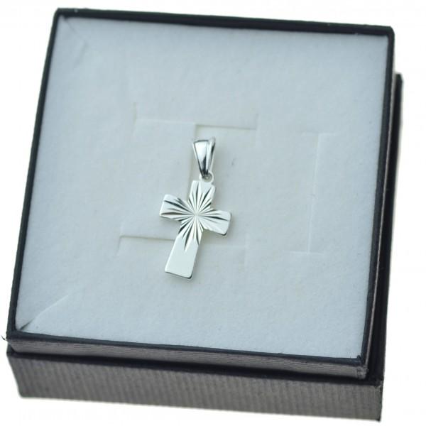 Krzyżyk srebrny mały prosty promienie Srebro próby 925 KR091