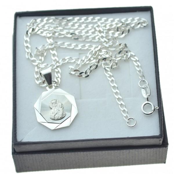 Komplet biżuterii srebrnej łańcuszek z medalikiem Matki bożej z Częstochowy Srebro 925