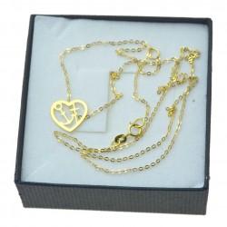 Łańcuszek Celebrytka Złoty Serce, miłość nadzieja wiara pr.333 8kt