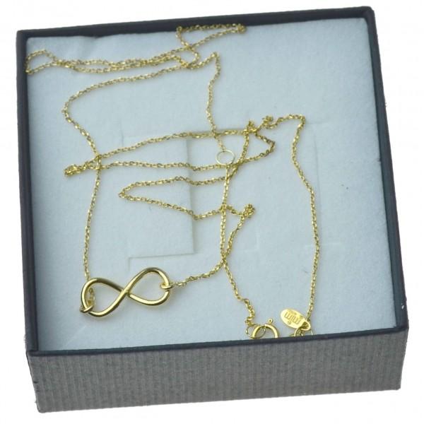 Złoty łańcuszek znak nieskończnosci celebrytka 8kt pr 333