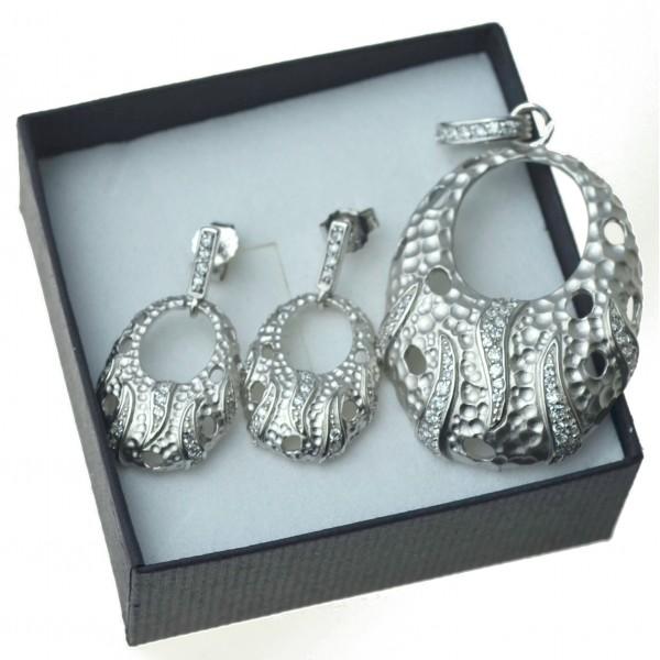 Komplet damskiej biżuterii Kolczyki i zawieszka Rodowany Srebro 925