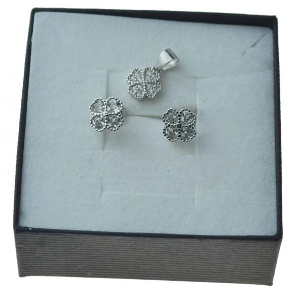 Komplet srebrny koniczyny kolczyki srebrne oraz zawieszka