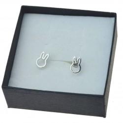 Kolczyki srebrne króliki sztyfty srebro rodowane 925
