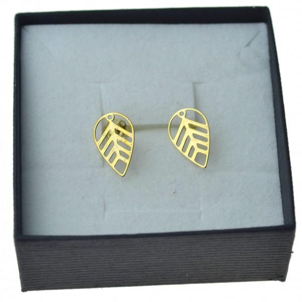 Złote kolczyki listki na sztyfty złoto 8 karatowe