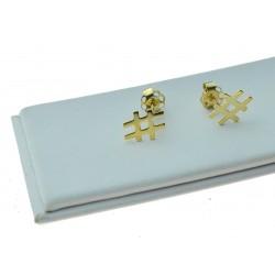 Kolczyki złote sztyfty Hastag złoto pr.333