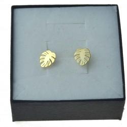 Kolczyki złote listki / liście sztyft złoto 333