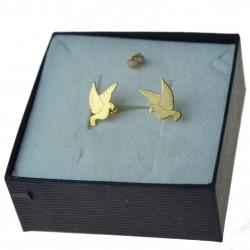 Złote kolczyki gołąbki ptaki Złoto pr.333