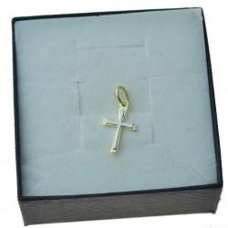 Złoty mały krzyżyk dwukolorowy złoto 333