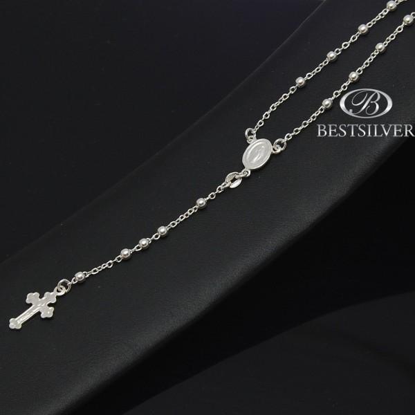Długi Srebrny różaniec, chrzest, komunia  naszyjnik modlitewny 75cm