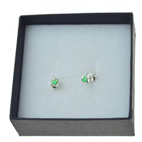 Kolczyki srebrne małe zielone serca Srebro 925 + emalia
