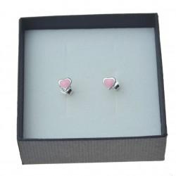 Kolczyki srebrne serca różowe emalia Srebro pr. 925