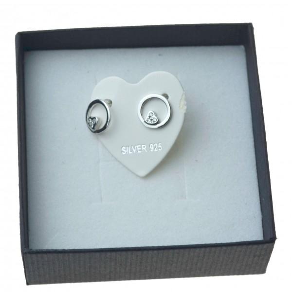 Kolczyki srebrne kółka z sercem Sztyft Srebro 925