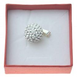 Zawieszka Srebrna discoball 16mm Crystal biała 925