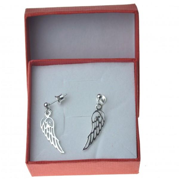 Kolczyki srebrne wiszące skrzydła anioła Srebro 925