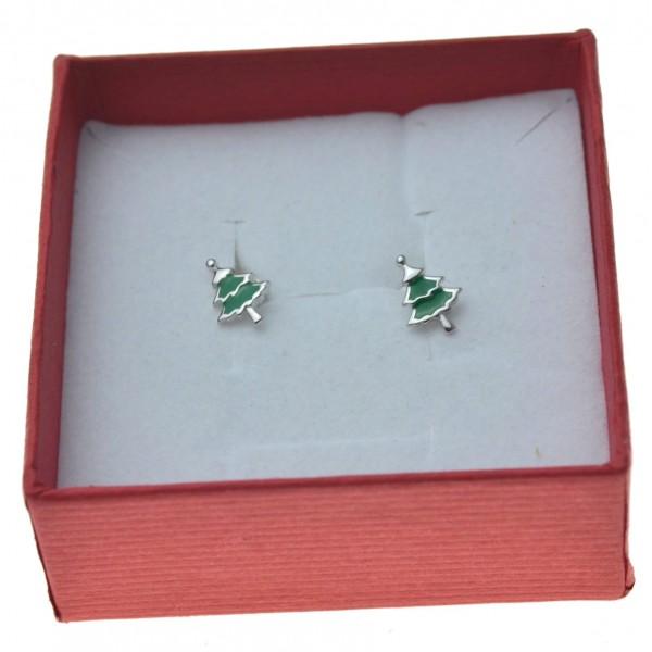 Kolczyki srebrne zielone choinki świąteczne Srebro 925