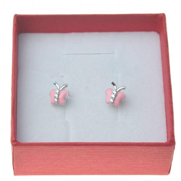 Kolczyki srebrne motylki różowe srebro 925 z cyrkonią