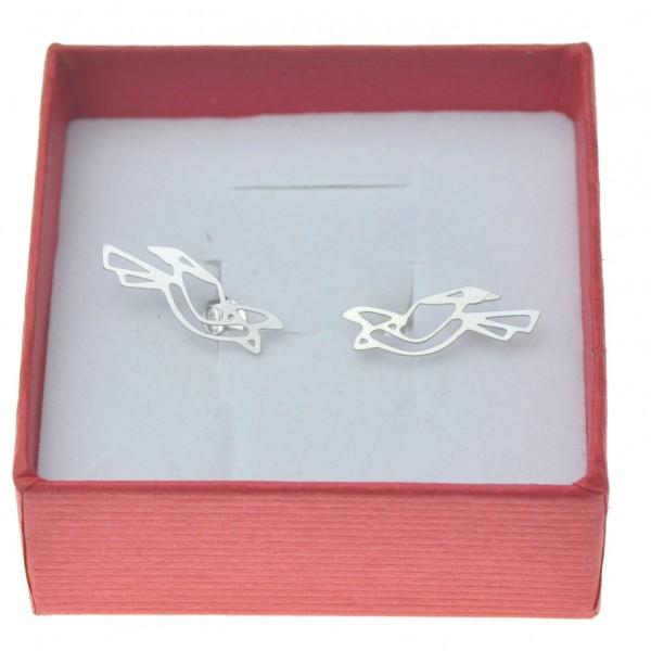 Kolczyki srebrne sztyfty gołąbki origami Srebro 925