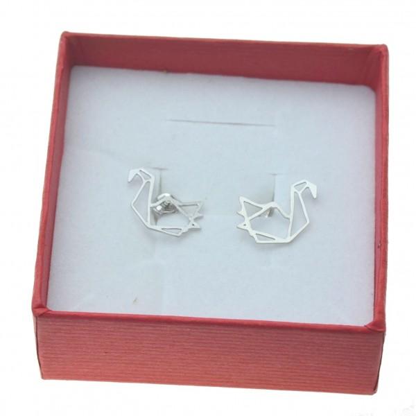 Kolczyki srebrne sztyfty łabędzie origami Srebro 925