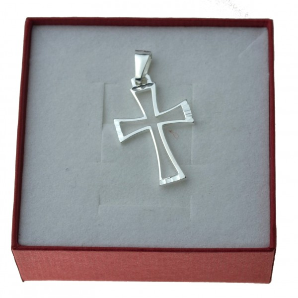 Srebrny krzyżyk obrys zarys krzyżyka promienie Srebro 925