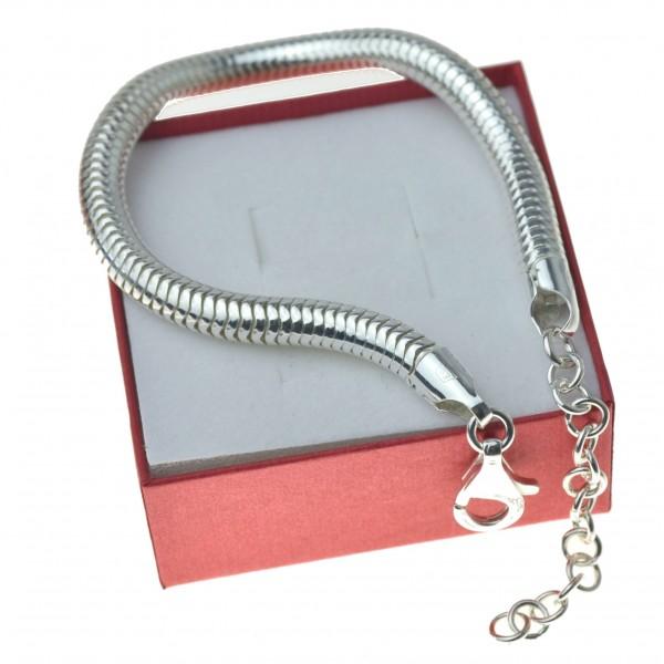 Bransoletka srebrna żmijka 6mm ogon weża 19,5cm + przedłużka