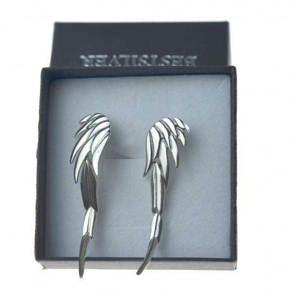 Kolczyki srebrne duże skrzydłą wiszące modne k0044 Srebro 925