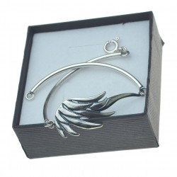 Bransoletka srebrna rurka 2mm ze skrzydłem k0044