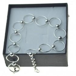 Bransoletka srebrna damska małe koła z kulkami srebro 925
