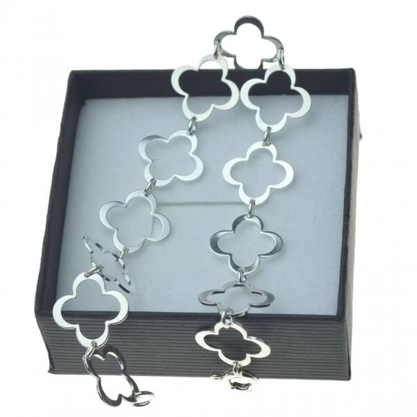 Bransoletka srebrna  marokańska koniczyna gęsta srebro 925 k0045