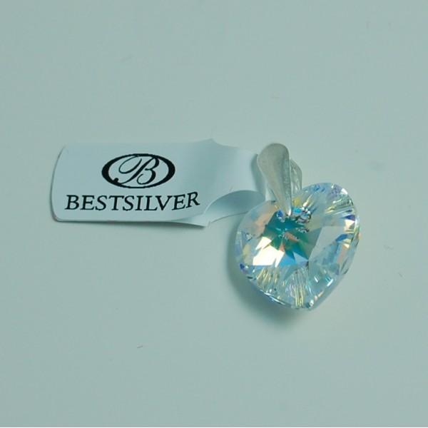 Wisiorek Serce Swarovski Crystal AB 14mm