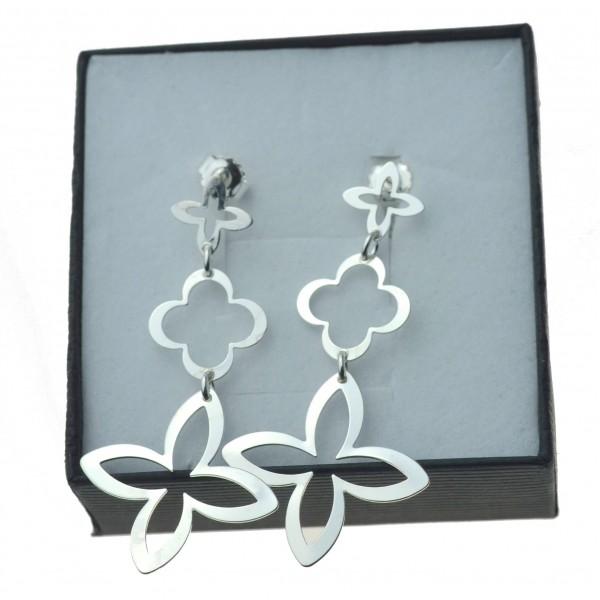 Kolczyki srebrne koniczyna marokańska wiszące srebro 925 k0045