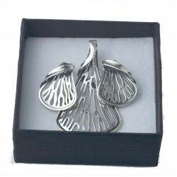 Srebrny Komplet liść ginkgo miłorząb duży srebro 925