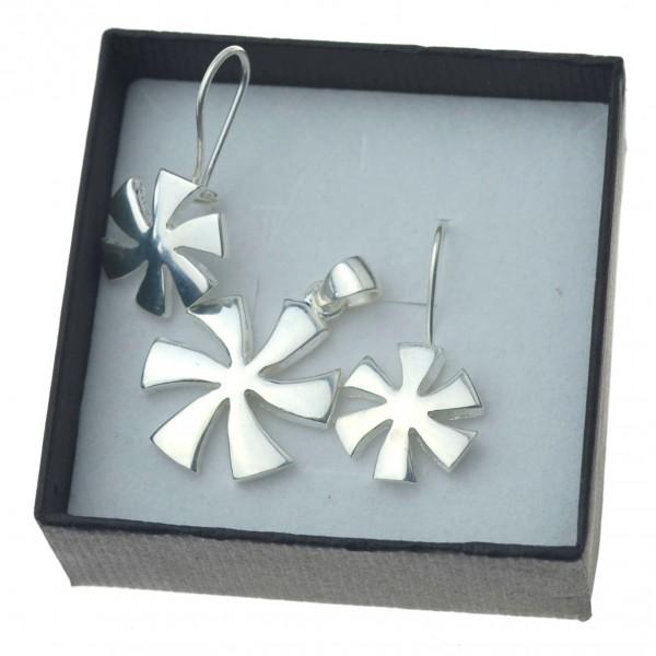 Damski Komplet srebrnej biżuterii kolczyki zawieszka wiatrak srebro 925 kmp047