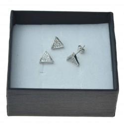 Srebrny Kompler Trójkątny z cyrkoniami, delikanty Srebro 925