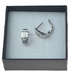 Kolczyki srebrne sztyfty angielskie wzór grecki srebro 925 kol090