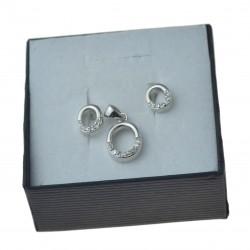Komplet srebrnej biżuterii koła owal z cyrkoniami srebro 925 KMP087