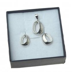 Komplet srebrnej biżuterii owale z cyrkoniami srebro 925 KMP088