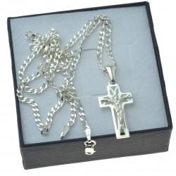 Komplet srebrny męski pancerka + krzyżyk srebrny srebro 925 KMP067